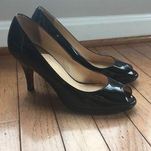 Cole Hann peep toe black Patent leather pumps